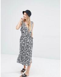 Monki - Multicolor Midi Button Up Dress - Lyst