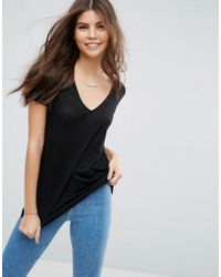 ASOS - Black Lightweight T-shirt With V Neck - Lyst