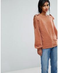 Vila - Multicolor Knitted Jumper With Bow Detail - Lyst