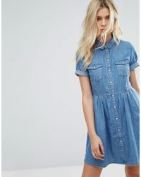 40a58dc24845 Lyst - ONLY Denim Short Sleeve Skater Dress in Blue
