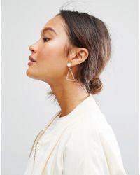 Monki - Metallic Abstract Pearl Earrings - Lyst