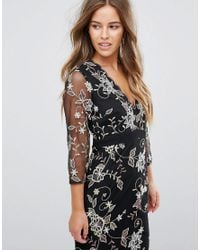 Little Mistress - Black All Over Floral Embroidered Maxi Dress - Lyst