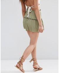 ASOS | Green Tiered Ruffle Flutter Shorts | Lyst