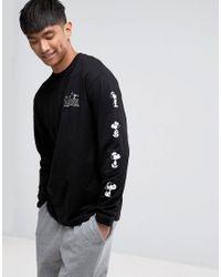 fb3801fc77 Vans X Peanuts Longsleeve T-shirt With Arm Print Va36l7blk in Black ...
