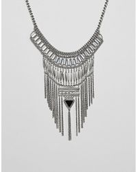 ASOS - Metallic Statement Stone And Chain Fringe Necklace - Lyst