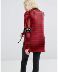 Lazy Oaf - Red Long Sleeve Striped T-shirt With Tie Up Elbows And Tiny Unhappy Face - Lyst