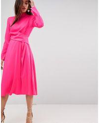ASOS - Pink Cut Out Midi Dress - Lyst