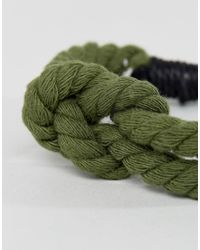 Icon Brand - Plaited Bracelet In Green With Anchor for Men - Lyst
