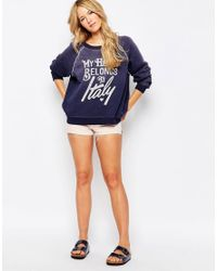 Wildfox - Blue My Heart Belongs To Sweatshirt - Lyst