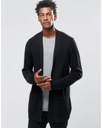 ASOS | Black Longline Open Cardigan With Shawl Neck for Men | Lyst