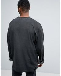 ASOS | Gray Oversized Long Sleeve T-shirt With Wide Roll Sleeve With Pigment Wash for Men | Lyst