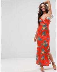 ASOS - Asos Maxi Dress With Cut Out Front In Red Based Floral - Lyst