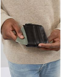AllSaints | Black Havoc Wallet In Leather With Zip Compartment for Men | Lyst