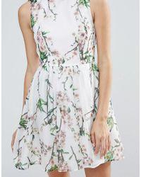 Zibi London | Pink Leaf & Floral Print Skater Dress | Lyst