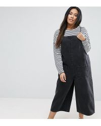 ace218d2c96 Lyst - ASOS Denim Cropped Length Jumpsuit In Washed Black in Black