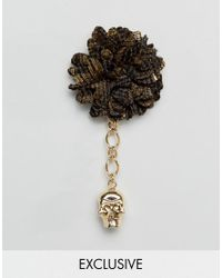Noose And Monkey - Fabric Lapel Pin In Black & Gold - Lyst