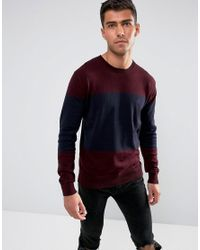 French Connection - Red Cotton Panel Crew Neck for Men - Lyst