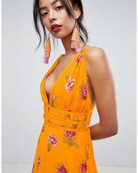 ASOS - Orange Asos Design Tall Border Floral Pleated Cami Maxi Dress - Lyst