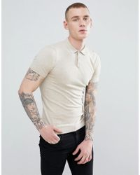 875a8910 ASOS Asos Knitted Muscle Fit Polo In Oatmeal in Natural for Men - Lyst