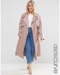 ASOS - Natural Curve Mac In Waterfall Drape With Roll Back Sleeve - Lyst