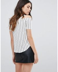 Daisy Street - White Striped Cold Shoulder Oversized Top - Lyst
