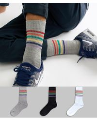 ASOS - Blue Sports Style Socks With Glitter Rainbow Stripes 3 Pack Multipack Saving for Men - Lyst
