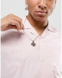 ASOS - Metallic Design Necklace With Roman Coin Style Spinner In Burnished Gold - Lyst