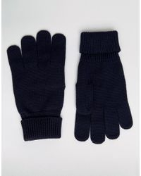 Lacoste | Blue Wool Gloves In Navy | Lyst