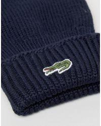 Lacoste - Blue Wool Gloves In Navy - Lyst