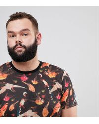ASOS - Black Asos Plus Super Longline T-shirt With Bird Floral Print And Curved Hem In Linen Look Fabric for Men - Lyst