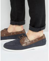 ASOS - Blue Boat Shoes In Navy Faux Suede With Brown Contrast Detail for Men - Lyst