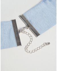 ASOS - Blue Wide Jersey Choker Necklace - Lyst