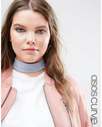 ASOS - Blue Wide Jersey Choker Necklace - Lyst