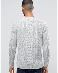 Bellfield - White Flecked Cable Knitted Jumper for Men - Lyst