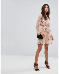River Island - Pink Floral Tie Front Tea Dress - Lyst