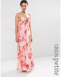 ASOS | Pink Wedding Floral Printed Rouched Bandeau Mesh Maxi Dress | Lyst