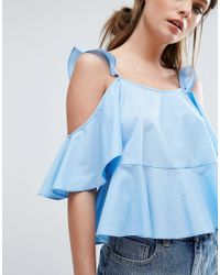ASOS - Yellow Cotton Sun Top With Ruffle Cold Shoulder - Lyst