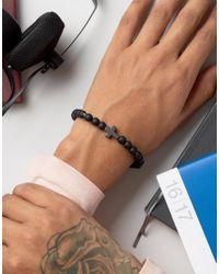 Icon Brand - Cross Beaded Bracelet In Matte Black for Men - Lyst