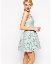ASOS | Green Applique Mesh Lantern Skirt Dress | Lyst