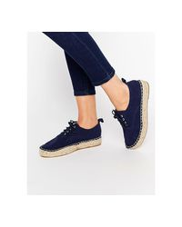 Pull&Bear - Blue Suede Lace Up Espadrille - Lyst