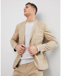 SELECTED - Natural Slim Suit Jacket With Patch Pocket for Men - Lyst