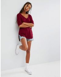 ASOS - Red Slouchy Oversized T-shirt In Rib - Lyst