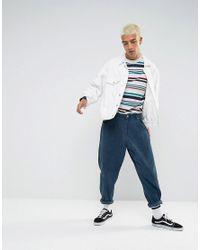 ASOS - Blue Oversized Long Sleeve T-shirt With Retro Stripe for Men - Lyst