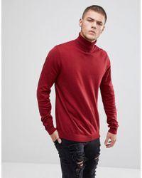 ASOS - Red Cotton Roll Neck Sweater In Burgundy for Men - Lyst