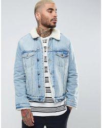 ASOS - Blue Fully Borg Lined Denim Jacket In Mid Wash for Men - Lyst