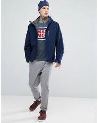 Marmot - Blue Linear Box Logo T-shirt In Navy Marl for Men - Lyst