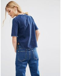 Mango | Blue Raw Edge Denim Tee | Lyst