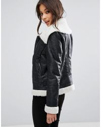 Missguided Black Faux Shearling Leather Look Aviator Pilot Jacket