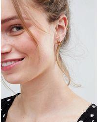ASOS - Metallic Design Pack Of 3 Palm Leaf And Pineapple Stud Earrings - Lyst