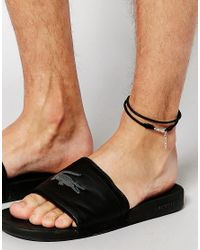 ASOS - Leather Anklet In Black for Men - Lyst